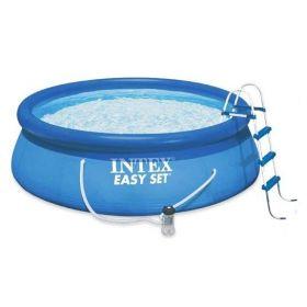 Надуваем басейн Интекс с размер диам. 4,57м х 1,22м